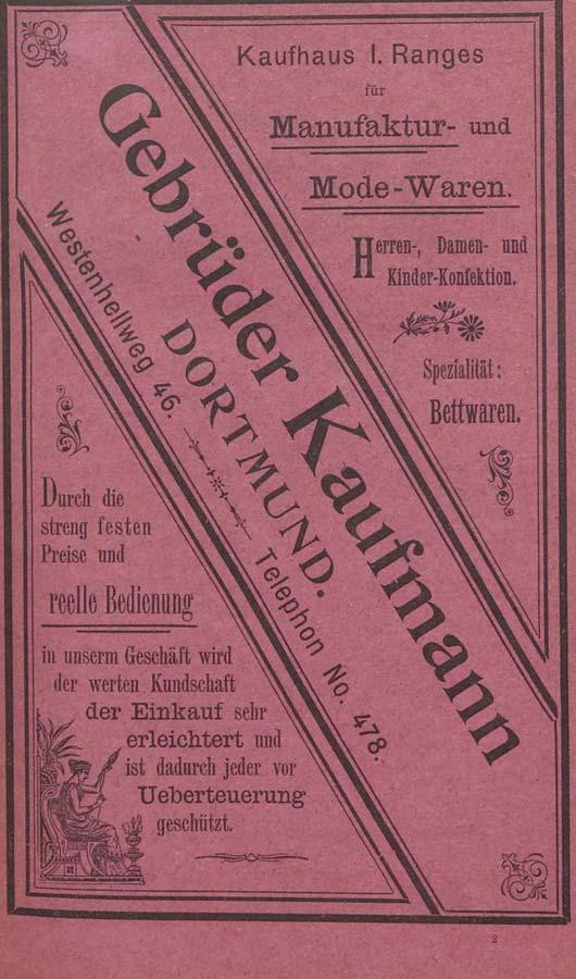Adressbuch Dortmund 1900, Werbung Gebr. Kaufmann