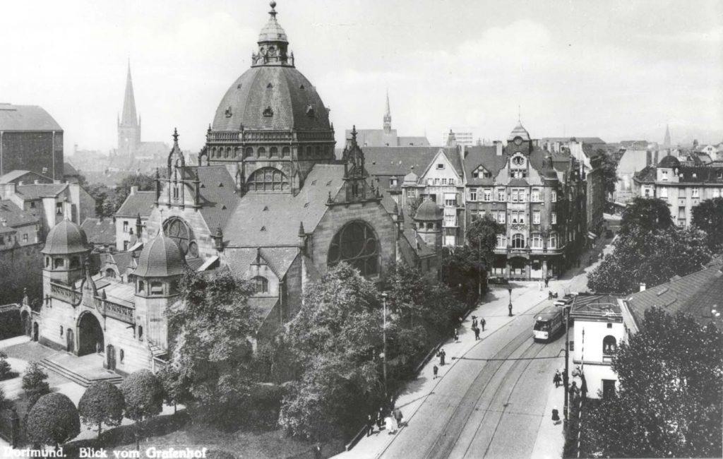 Alte-Dortmunder-Synagoge,-Blick-vom-Grafenhof,-um-1925 Fotografie