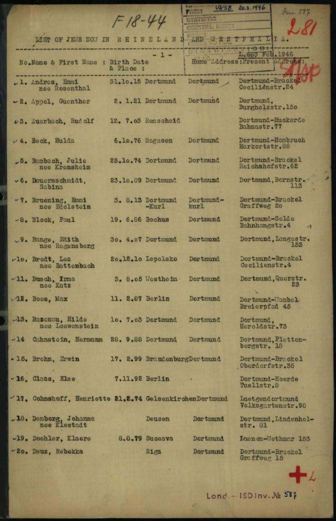 Auszug aus der Liste in Dortmund lebender Juden, 1946