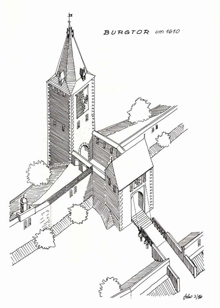 Zeichnung Burgtor-mit-Pforte-1610