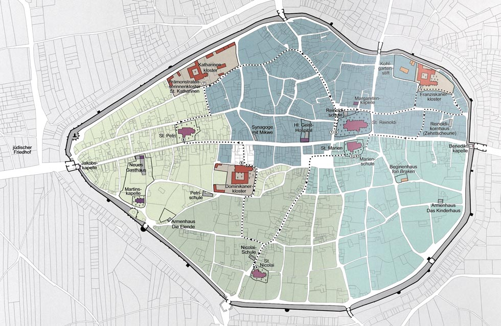 Karte Dortmund um 1500