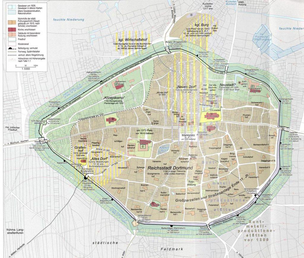 Karte Stadbefestigung Dortmund
