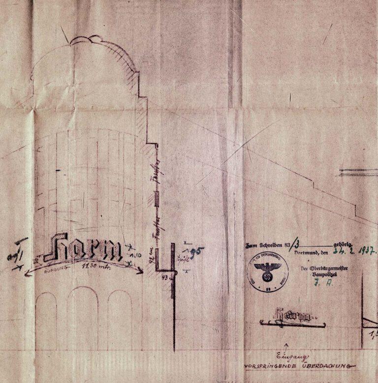 Kaufhaus Kaufmann arisiert, 1937 mit-Schriftzug der Harm KG