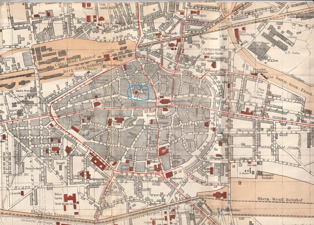 Karte: Lage der Synagoge Am Wüstenhof (heute zwischen Hansastraße und Bissenkamp